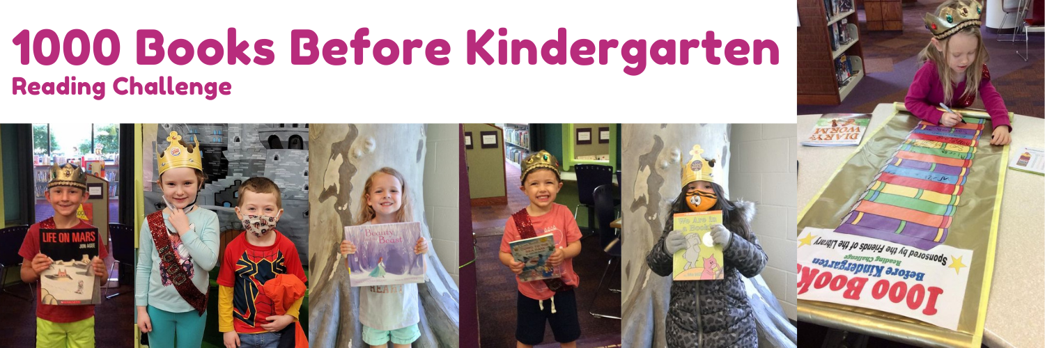 """Photos of kids with books and the title """"1000 Books Before Kindergarten Reading Challenge"""""""