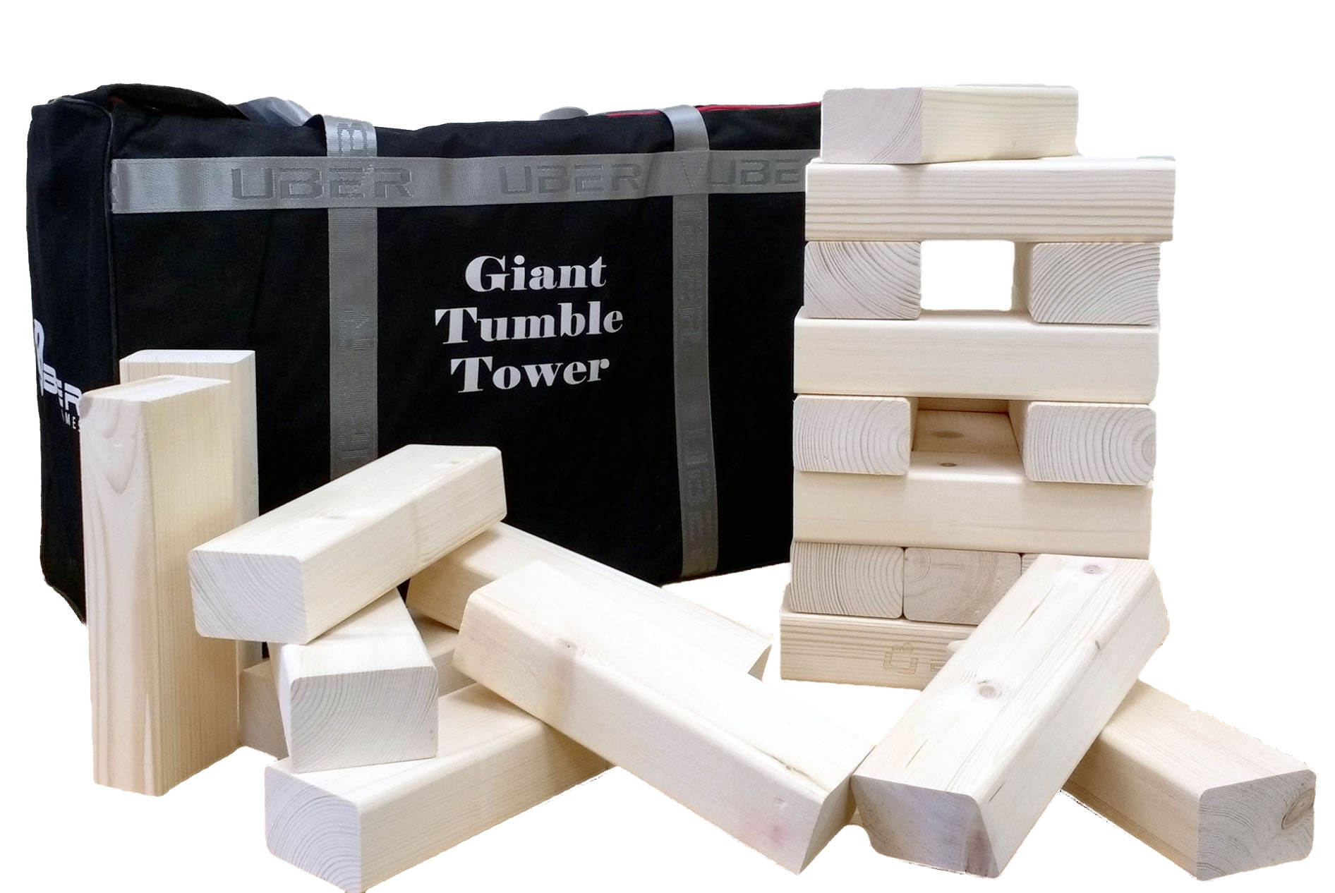 Tumble Tower with blocks and a bag