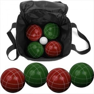 Bocce ball in a travel bag