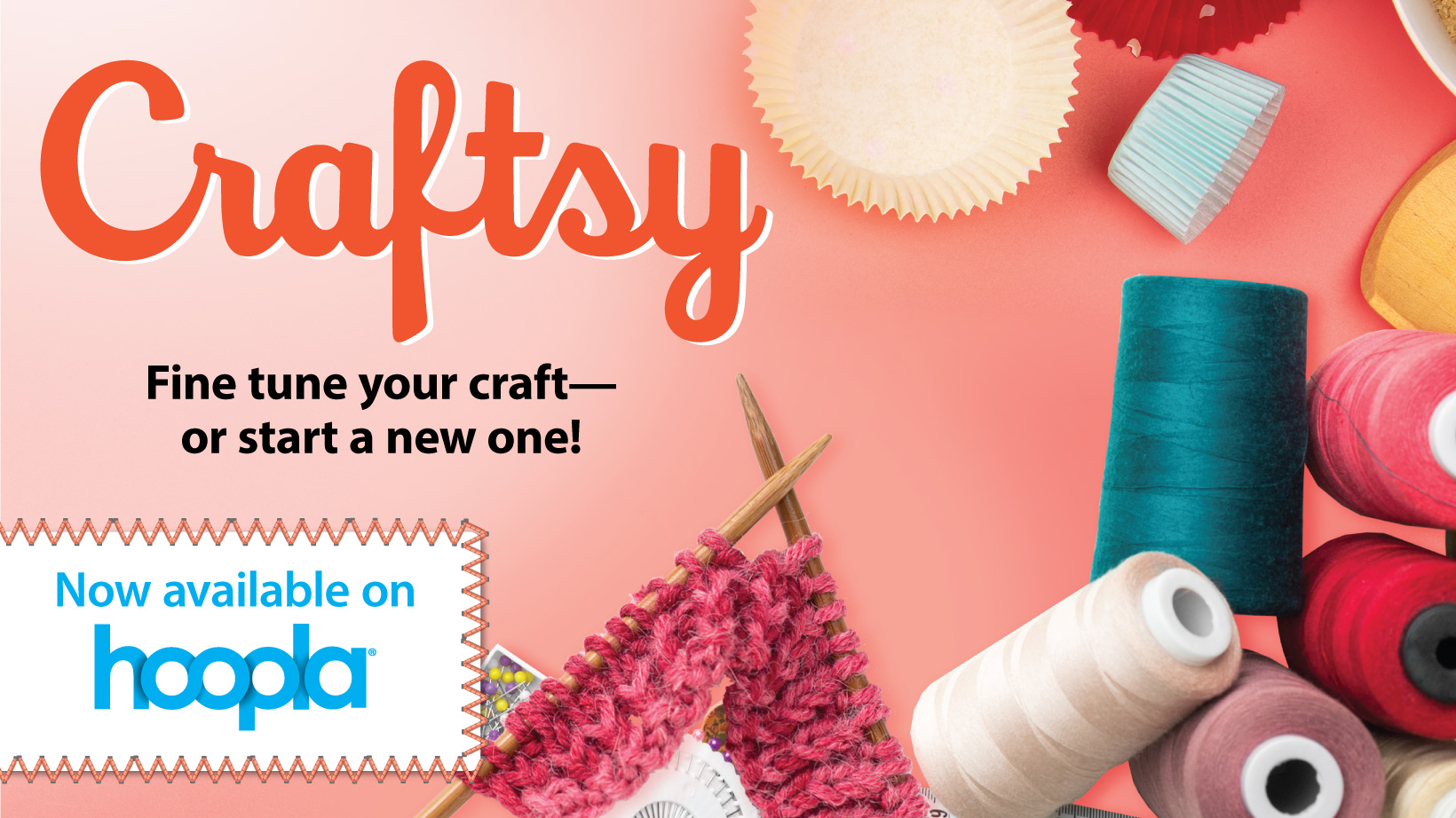 """A pink background with yarn, ribbon, and other crafting materials with the title """"Craftsy"""""""