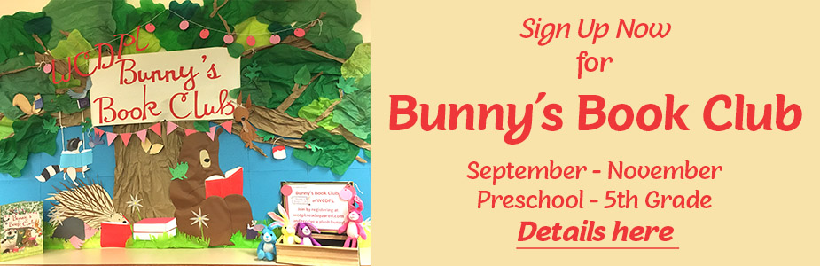 "Bunnies and bears shown reading under a tree; ""Join Bunny's Book Club"""